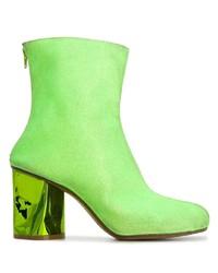 gelbgrüne Wildleder Stiefeletten von Maison Margiela