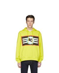 gelbgrüner bedruckter Pullover mit einem Kapuze von Etro