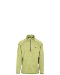 gelbgrüner Fleece-Pullover mit einem Reißverschluss am Kragen von Trespass
