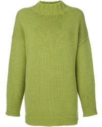 gelbgrüner Oversize Pullover von Alexander McQueen