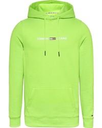 gelbgrüner Pullover mit einem Kapuze von Tommy Jeans