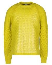 gelbgrüner Pullover mit einem Rundhalsausschnitt