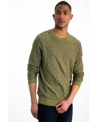 gelbgrüner Pullover mit einem Rundhalsausschnitt von GARCIA