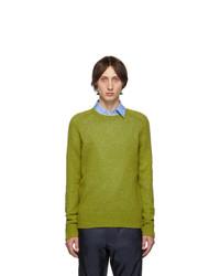 gelbgrüner Pullover mit einem Rundhalsausschnitt von Prada