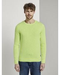 gelbgrüner Pullover mit einem Rundhalsausschnitt von Tom Tailor