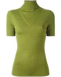 gelbgrüner Rollkragenpullover