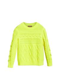 gelbgrüner Strickpullover von Burberry