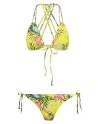 gelbgrünes Bikinioberteil mit Blumenmuster von Missguided