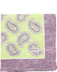 gelbgrünes Einstecktuch mit Paisley-Muster
