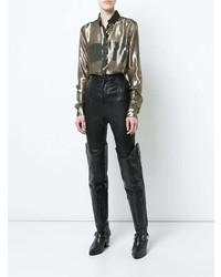 goldene Bluse mit Knöpfen von Saint Laurent