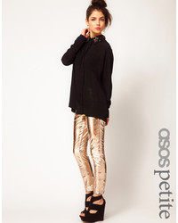 goldene enge Hose aus Leder von Asos Petite
