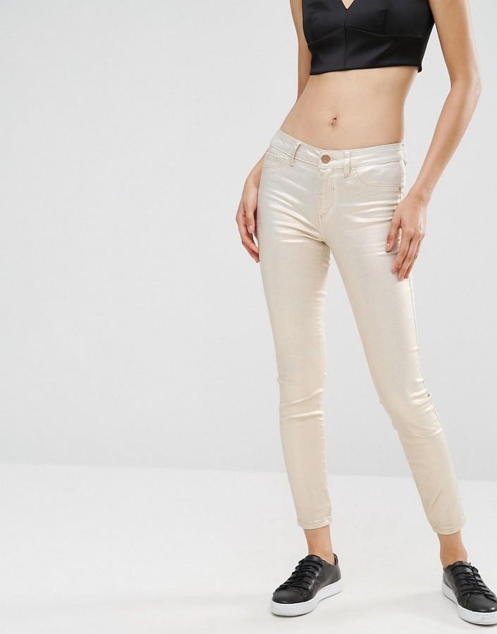 Vila – Enge Jeans in Weiß