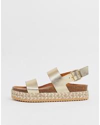 goldene flache Sandalen aus Leder von Aldo