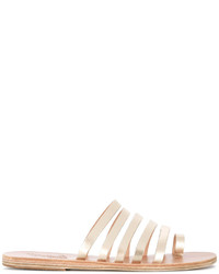 goldene flache Sandalen aus Leder von Ancient Greek Sandals