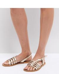 goldene flache Sandalen aus Leder von ASOS DESIGN