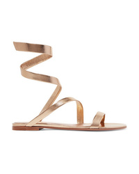 goldene flache Sandalen aus Leder von Gianvito Rossi