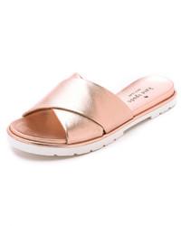 goldene flache Sandalen aus Leder von Kate Spade
