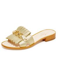 goldene flache Sandalen von Kate Spade