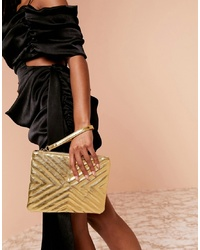 goldene gesteppte Leder Clutch von ASOS DESIGN