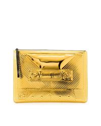 goldene gesteppte Leder Clutch von Corto Moltedo