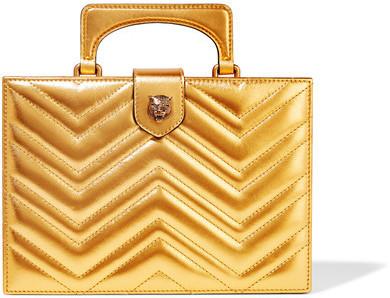 Goldene gesteppte Leder Clutch von Gucci