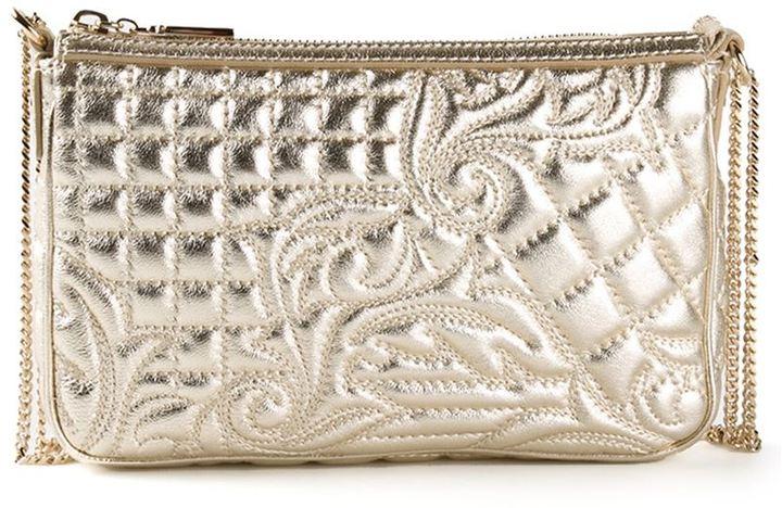 Goldene gesteppte Leder Clutch von Versace