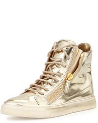 goldene hohe Sneakers aus Leder