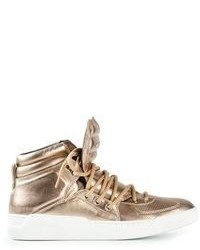 goldene hohe Sneakers aus Leder von Dolce & Gabbana