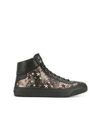 goldene hohe Sneakers aus Leder von Jimmy Choo
