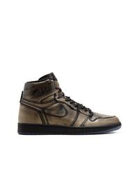 goldene hohe Sneakers aus Leder von Jordan