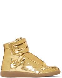goldene hohe Sneakers aus Leder von Maison Margiela