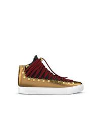 goldene hohe Sneakers aus Leder von Swear