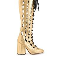 goldene kniehohe Stiefel aus Leder von Marni