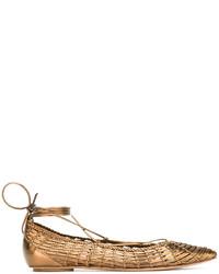 goldene Leder Ballerinas von Casadei