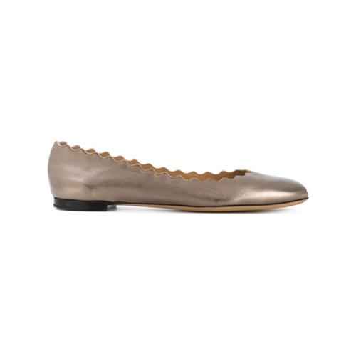 goldene Leder Ballerinas von Chloé