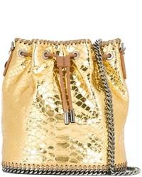 goldene Leder Beuteltasche
