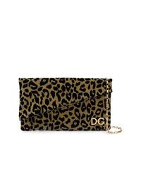goldene Leder Clutch mit Leopardenmuster von Dolce & Gabbana