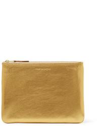 goldene Leder Clutch mit Reliefmuster von Comme des Garcons