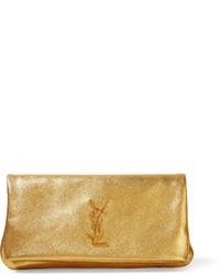 goldene Leder Clutch mit Reliefmuster von Saint Laurent