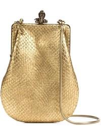 Goldene Leder Clutch mit Schlangenmuster
