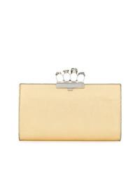 goldene Leder Clutch von Alexander McQueen