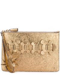 goldene Leder Clutch von Anya Hindmarch
