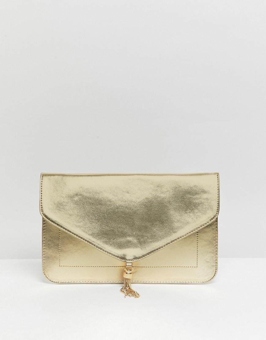 goldene Leder Clutch von ASOS DESIGN