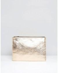 Goldene Leder Clutch von Asos