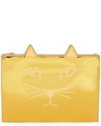 goldene Leder Clutch von Charlotte Olympia
