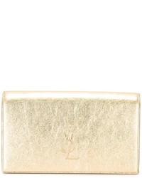 goldene Leder Clutch von Saint Laurent