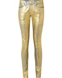 goldene Leder enge Jeans von TRE by Natalie Ratabesi
