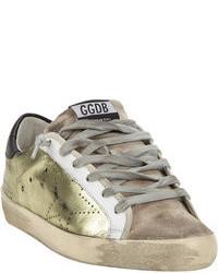 goldene Leder niedrige Sneakers