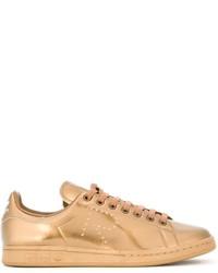 goldene Leder niedrige Sneakers von Adidas By Raf Simons