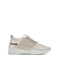 goldene Leder niedrige Sneakers von Dsquared2